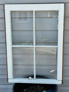 "20""x27"", 4 Pane Wood Window Sash Rustic Antique Vintage Farmhouse Wedding Decor"