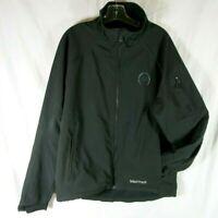 Marmot Black Ski Wind Jacket Fleece Lined Drawstring Hem Light Wt Zip Pockets L