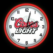 """19"""" Coors Light Beer Sign Double Red Neon Clock Man Cave Garage Bar Game Room"""