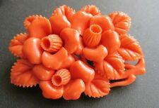 Vintage Art Deco Carved Faux Coral Celluloid Floral Brooch
