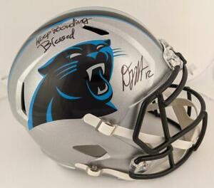 "D.J. Moore ""Keep Pounding"" & ""Blessed"" Signed F/S Replica Helmet Beckett Witness"