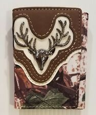 Small Trifold Camo Deer Elk Skull Wallet NWT! Guns Hunter Faux Leather Concho