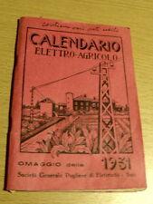 Libretto Calendario Elettro Agricolo 1931 Fascismo - Soc. Gen. Pugliese El[AF24]