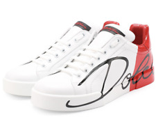 DOLCE GABBANA LOGO ROT-WEISS TRAINERS SHOES TURNSCHUHE SCHUHE SNEAKERS SLIP-ON