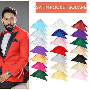 Solid Plain Wedding Silk Satin Men Suit Pocket Square Handkerchief Multicolour
