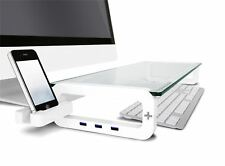 iTrend Tempered Glass Smart  Monitor Stand with Built-in USB2.0 HUB - White