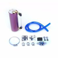 PURPLE BILLET JDM ALUMINUM ROUND OIL CATCH TANK/CAN RESERVOIR 750ML+BRACKET+HOSE