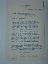 Alex M White Signed Letter 14 Wall Street New York NY Anti-Tammany Movement 1913