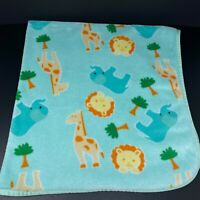 Snugly Baby Blanket Green Blue Teal Elephant Giraffe Lion Safari Plush Fleece