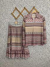 Vintage Blouse Skirt Set 70s Boho Print Lot Medium
