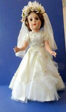 "Vtg Hard Plastic Bride Doll - 18"" - Original Clothing - Sleep Eyes - Very Clean"