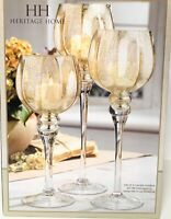 HERITAGE HOME Gold Crackle Hurricanes, Set of 3 Candle Holders