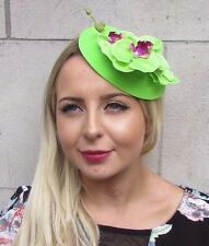 Lime Green Orchid Flower Pillbox Hat Fascinator Races Rockabilly 1950s Vtg 3092