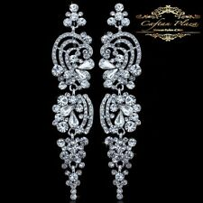 Bridal Jewelry Wedding Earrings Size Earrings XXXL Silver White Chandelier