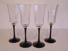 4 Cristal D'Arques France Octime Black Stem Octagon Glass Champagne Flutes
