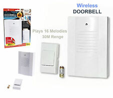 WIRELESS DOOR BELL 16 MELODIES SOUND CHIME TONE PORTABLE BATTERY OPERATED 30CM