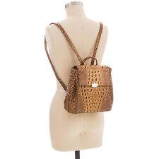 Brahmin Margo Toasted Melbourne Croc Embossed Leather Backpack R30151