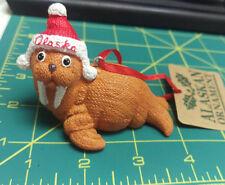 Cute Knitted Walrus with Alaska Hat - polystone ornament knit pattern texture