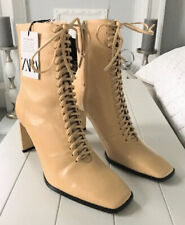 Ladies Zara Leather Lace Up Ankle Boots In  Light Camel Size UK7 BNWT RRP£95.99