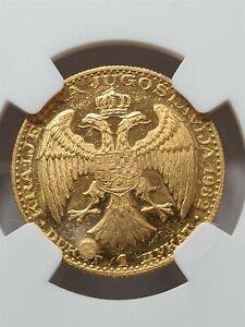 YUGOSLAVIA Serbia 1 dukat 1932 Gold NGC MS 61 UNC Corn SCARCE