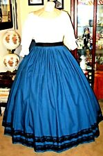 Civil War Dress~Victorian Style 100% Cotton Solid  00006000 Royal Blue Skirt ~Black Lace