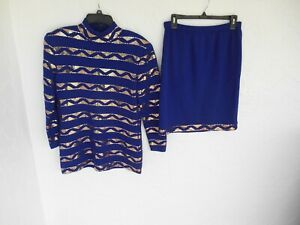 ST.JOHN EVENING PURPLE KNIT WITH PALLIETTES  JACKET TOP & SKIRT OUTFIT Size 10