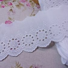 Embroided Cotton Eyelet Lace Trim Broderie Anglaise 6cm Wide White 5yds