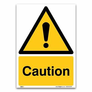 Caution Sign - 1mm Rigid Plastic Sign - Warning Construction Security