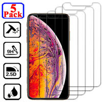 5-PACK Tempered Glass Screen Protector For iPhone 11 Pro XS Max XR X 8 7 6 Plus