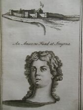 Antiquarian Engraving of An Amazon Head at Smyrna & Castle at Smyrna - 1717