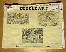 3 Rare Original Vtg Doodle Art A.J. Filipeli VW Bug Out Choice Chevy Winter 94