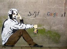"Einstein, Just Google It, Graffiti Art, 8""x11"", Giclee Canvas Print"