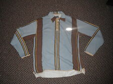 Haviton Large Mens Blue Yellow Brown Casual Long Sleeved Collared Zip Up Top