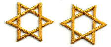 "Star Of David - 1"" Embroidered Gold Rayon Iron On Patches - SET OF 2"