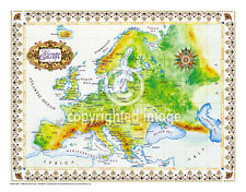 "19.5 x 25"" Europe Vintage Look Map Poster Printed on Frenchtone Parchment Paper"