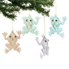 Department 56 Deck The Shores 2013 Set of Four Glass Frog Ornaments 4032234