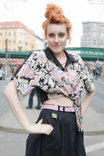 Wickelbluse Damen blouse shirt schwarz violet rosa 80er True VINTAGE 80´s women