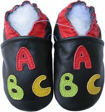 carozoo ABC black 0-6m soft sole leather baby shoes
