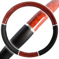 Dark Wood Grain Steering Wheel Cover for Van Car SUV Premium Black Syn Leather
