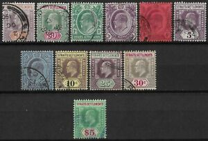 STRAITS SETTLEMENTS 1902-10 Collection KEVII Good used.