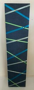 Contemporary Blue Fabric Ribbons Modernist Hanging Wall 50x12 C1