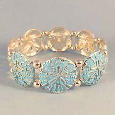 Silver Designer Inspired Blue Whitewash Sand Dollar NEW Stretch Bracelet USA