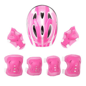 7Pcs Adjustable Safety Kids Helmet W/Knee Elbow Wrist Pad Set Scooter Skateboard