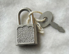 Vintage SMALL Silver-tone keyed PADLOCK with KEY for luggage, diary or other use