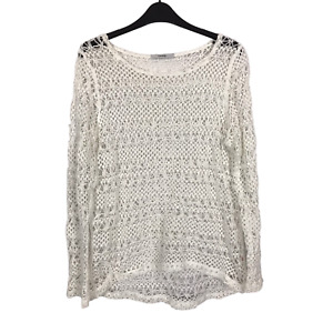 George Women's Size 12 EUR 40 Ivory Open Crochet Long Sleeve Pullover Top