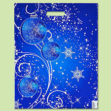 Pack of 50 ECO Christmas-Printed Blue Plastic Gift Carrier Bags 40x50 cm