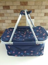 Picnic Basket Insulated Cooler Tote w/Collapsible Frame Navy Beach Umbrella