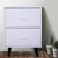 Solid Wood Furniture Elegant Nightstand W/2 Drawer Storage Shelf End Table White