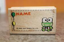 Kerokero Keroppi Wooden Frog Rubber Stamp Name Sanrio Japan Vintage 1988 1992