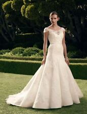 Wedding Dress Casablanca 2180 Soft A-Line Lace Illusion neckline white Sz 10 New